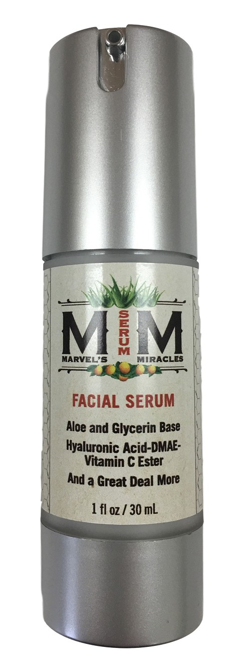 Marvel's Miracles Facial Serum with Aloe, Hyaluronic Acid, DMAE, Vitamin C Ester and a great deal more!
